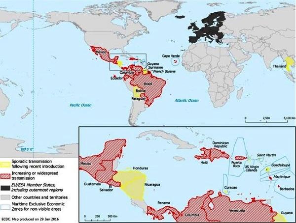 Bản đồ các quốc gia và vùng lãnh thổ ghi nhận sự lây lan virus Zika trong vòng 2 tháng qua.