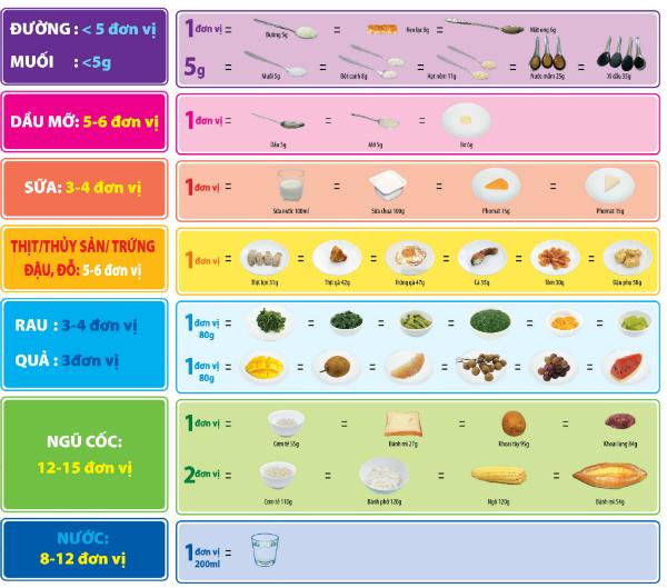 Khẩu phần ăn mỗi ngày do Viện Dinh dưỡng Quốc gia khuyến nghịcho người trưởng thành.