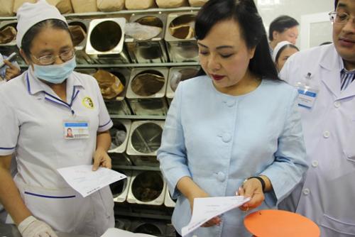 Bộ trưởng y tế quan tâm đến nguồn gốc các loại dược liệu cung cấp cho người bệnh. Ảnh: T.P