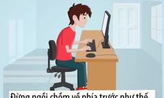 Tư thế ngồi máy tính đúng để không bị đau cột sống