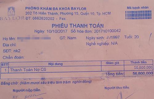 Hóa đơn đóng tiền phẫu thuật dương vật của bệnh nhân.