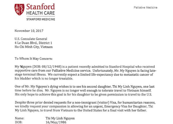 Lá thư bác sĩ tại Mỹ ghi rõ nguyện vọng cuối đời của bệnh nhân là gặp lại con gái lần cuối.