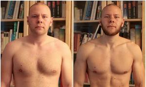 Chàng trai giảm béo bụng sau 15 tuần tập thể dục