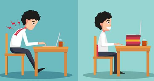 Tư thế ngồi làm việc sai (ảnh trái) dễ gây đau mỏi vai, gáy, lưng và dẫn đếnbệnh lý vềcột sống.