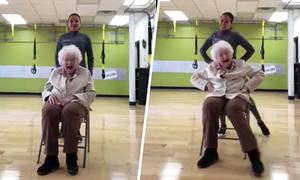 Nụ cười hạnh phúc lúc tập nhảy của cụ bà 93 tuổi
