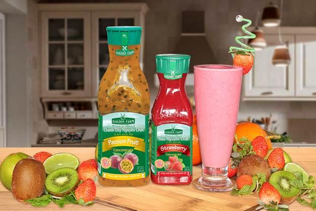 5 phút hoàn thành ly sinh tố thơm ngon với sản phẩm sinh tố trái cây Golden Farm.