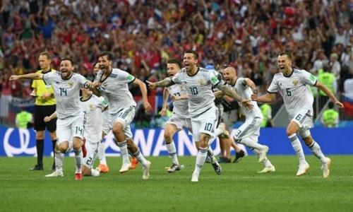 Đội tuyển Nga chiến thắng đội tuyển Tây Ban Nha trên chấm 11 m trong trận đấu tối 1/7. Ảnh: AP.