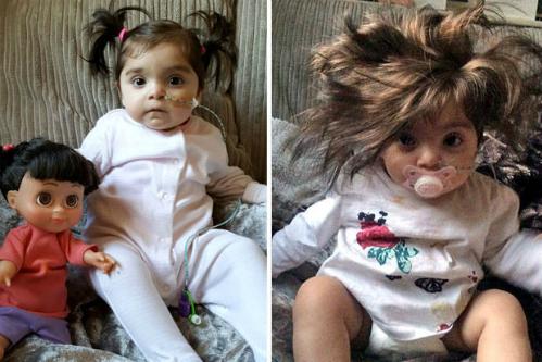 Bé Bella Cole có mái tóc dày đến mức bị lầm tưởng là đội tóc giả. Ảnh: Mirror.