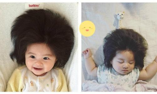 Nhìn tóc của Chanco, ít người nghĩ em chưa đầy bảy tháng tuổi. Ảnh: Instagram.