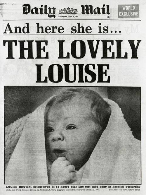 Vừa chào đời, Louise đã lên trang nhất hàng loạt tờ báo. Ảnh: DM.