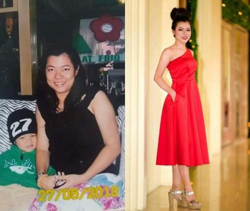 Kim Huỳnh trước và sau giảm 12 kg. Ảnh: C.K