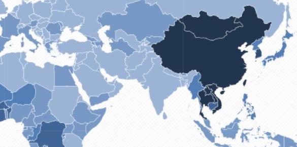 Việt Nam nằm trong nhóm những người có người mắc ung thư gan nhiều nhất, biểu thị bằng màu xanh đậm trên bản đồ ung thư gan thế giới..