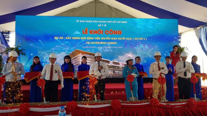 Bệnh viện Truyền máu Huyết học TP HCM cơ sở 2 khởi công ngày 17/10. Ảnh: Lê Phương.