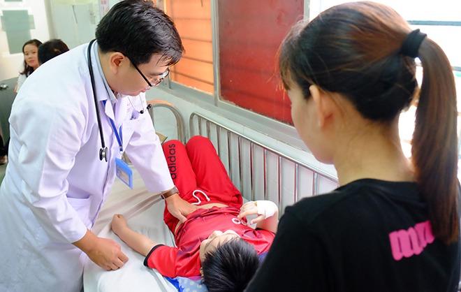 Trẻ điều trị tại Bệnh viện Nhi đồng 1 sáng 29/10. Ảnh: L.P