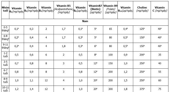 Nhu cầu khuyến nghị cho các vitamin nhóm B, vitamin C. Nguồn: Viện dinh dưỡng.