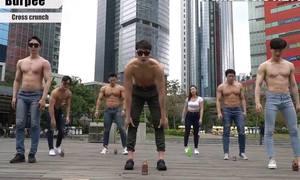 4 phút tập ngoài trời của thanh niên Hàn Quốc