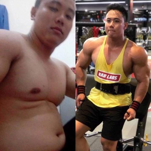 Quốc Anh trước và sau tập gym. Ảnh: C.K