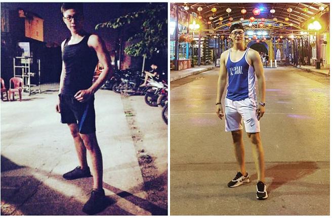 Ngọc Anh trước và khi tập gym. Ảnh: NVCC
