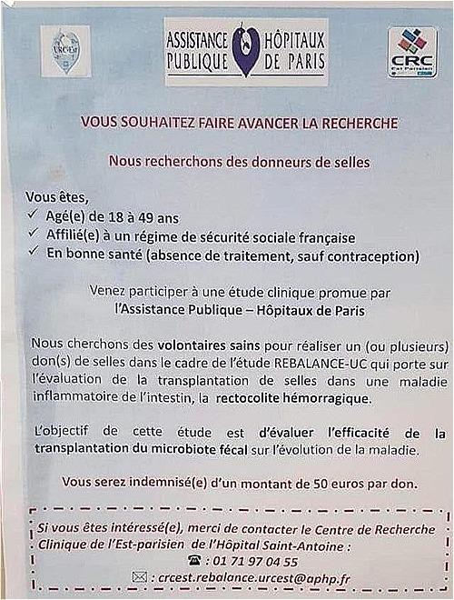 Tờ áp phích kêu gọi hiến phân của Bệnh viện Saint Antoine ghi rõ người hiến phải nằm trong độ tuổi 18-49, có bảo hiểm xã hội và sức khỏe tốt. Ảnh: DM.