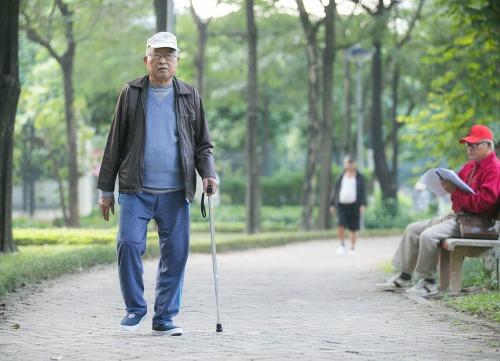 Cụ Phan Văn Liệu (90 tuổi) hàng ngày chống gậy đi bộ tại công viên để rèn luyện đôi chân dẻo dai. Ảnh: Đình Tùng