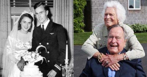 Vợ chồng cựu Tổng thống Bush cha lúc trẻ và về già. Ảnh: sosharethis.