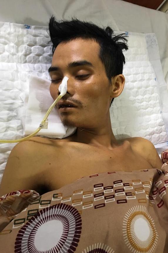 Bênh nhân Học đang nằm điều trị tại Bệnh viện Đa khoa Lạng Sơn. Ảnh: Bệnh viện cung cấp.