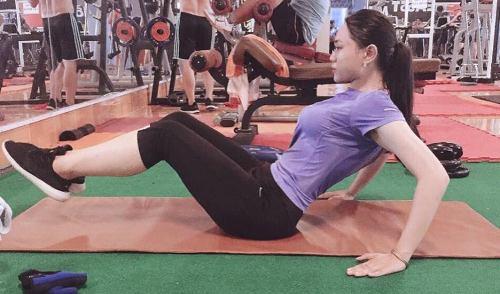 Quỳnh Như tập luyện gym tích cực. Ảnh: C.K