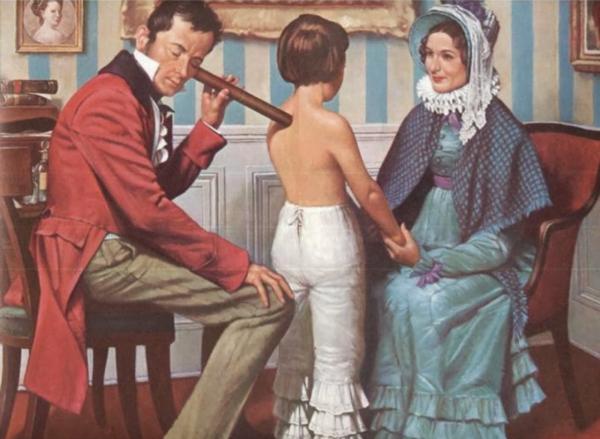 Chiếc ống nghe bằng gỗ được sử dụng để chẩn đoán lâm sàng bệnh.