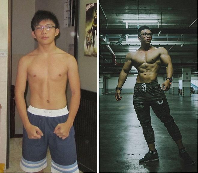 Vương Quang trước và sau khi tập gym 2 năm. Ảnh: Nhân vật cung cấp