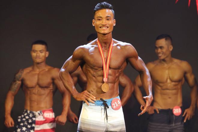 Thành Nhân với vóc dáng săn chắckhi thi đấu giải Muscle Contest. Ảnh: Nhân vật cung cấp