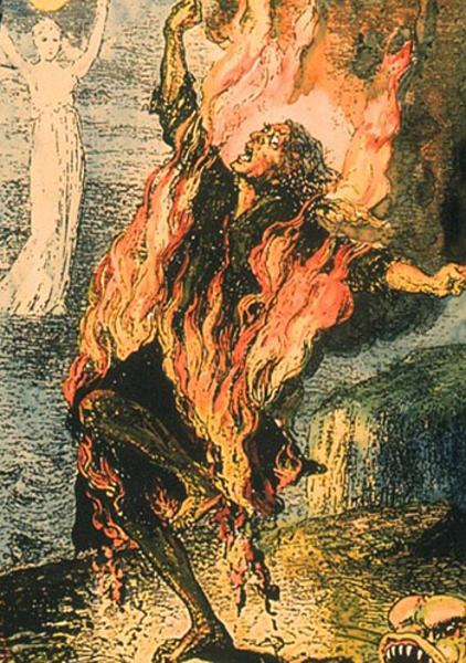 Hình vẽ mo tả người tự bốc cháy. Ảnh: Ancient-origins