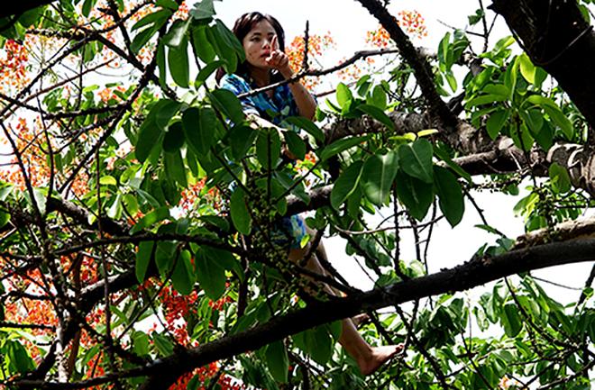 Cô gái bị ngáo đáleo lên cây liên tục la hét. Ảnh: Xuân Ngọc