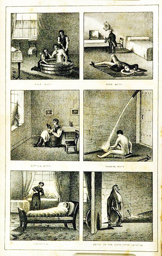 Minh họa phương pháp chữa bệnh tâm thần bằng nước hồi thế kỷ 19. Ảnh: Atlantic.