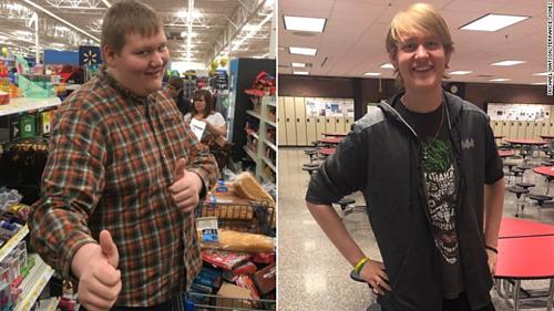 Michael trước và sau khi giảm cân nhờ đi bộ đến trường. Ảnh: CNN.