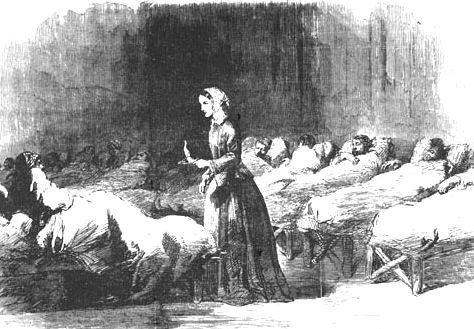 Minh họacảnh Florence đi thăm binh lính trong đêm. Ảnh: London News.