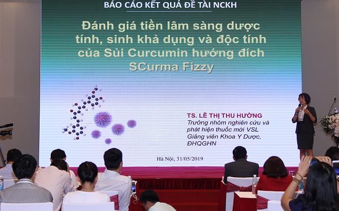 Tiến sĩ Lê Thị Thu Hường chia sẻ kết quả đánh giá dược tính, sinh khả dụng và đặc tính của Curcumin.