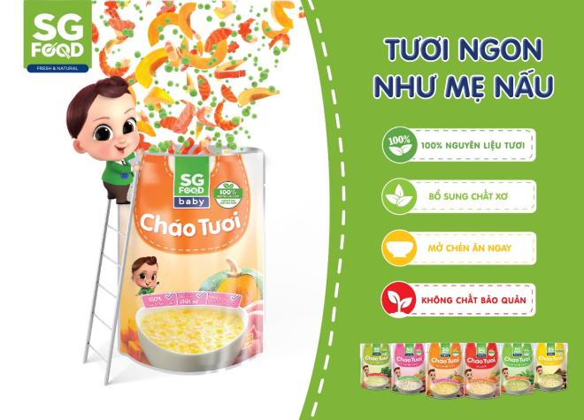 Cha mẹ có thể chọn những sản phẩm cháo tươi để cung cấp dinh dưỡng cho trẻ.