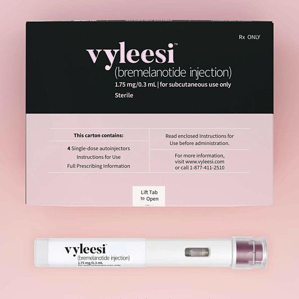 Hình ảnh về bao bì và sản phẩm thuốc kích dục Vyleesi.
