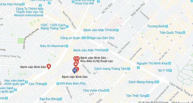 Bản đồ chỉ dẫn tới Bệnh viện Bình Dân.