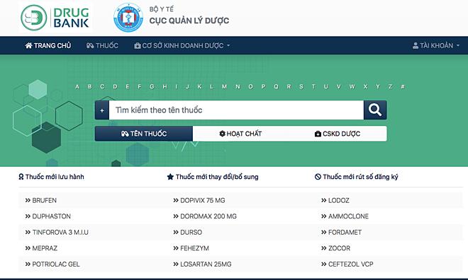 Website ngân hàng dữ liệu ngành dược, Bộ Y tế.