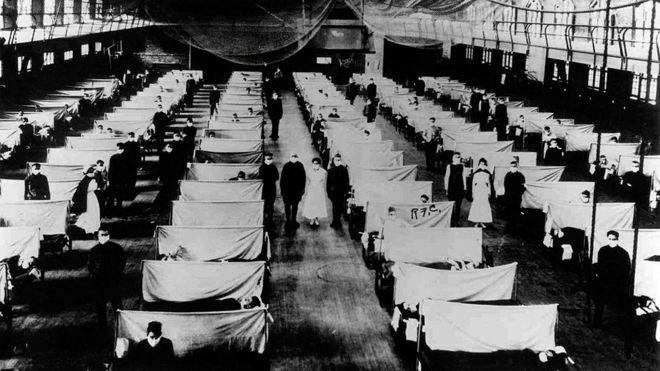 Nhà kho được tận dụng làm nơi chữa bệnh nhân trong đại dịch cúm 1918. Ảnh: BBC