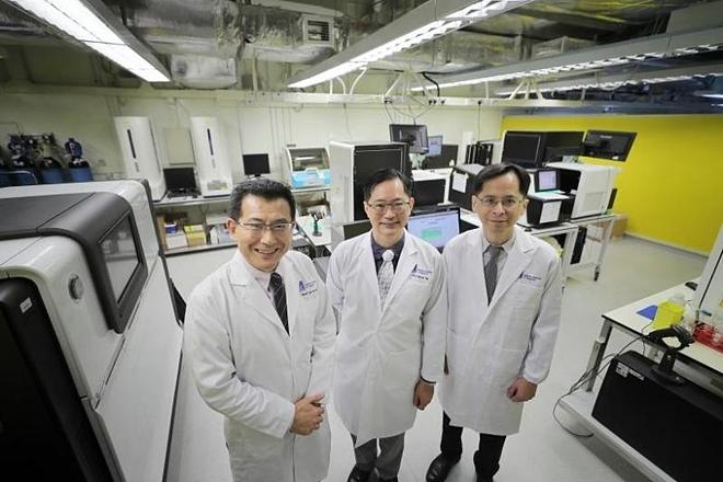 Từ trái qua phải: Giáo sư Liu Jianjun, phó giám đốc điều hành và trưởng nhóm cao cấp (di truyền học người) tại Viện genome Singapore (GIS). Giáo sư Patrick Tan, giám đốc điều hành của GIS. Giáo sư Cheng Ching-Yu, nhà khoa học lâm sàng chính tại Trung tâm nghiên cứu mắt quốc gia Singapore Singapore Singapore. Ảnh: Straits Times