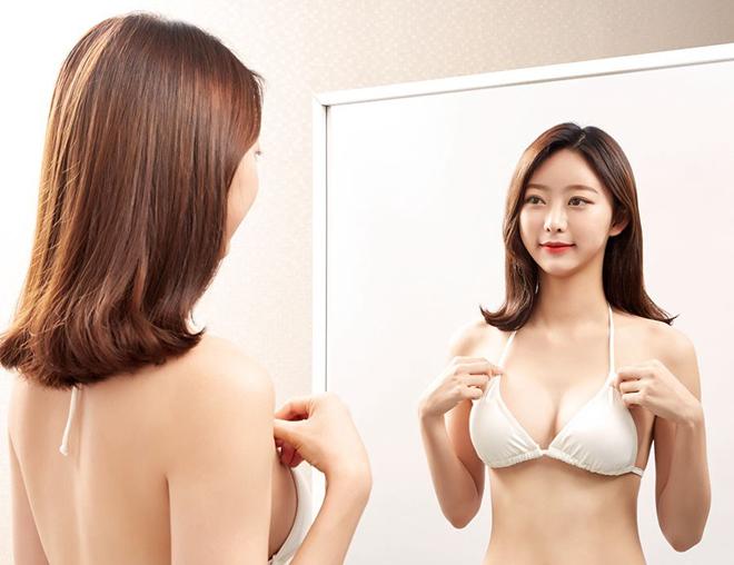 Bầu ngực cân đối sau khi nâng ngực tỷ lệ vàng