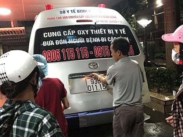 Chiếc xe cấp cứu đưa Trang về Bình Phước. Ảnh: H.N