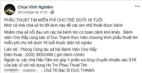 Trang Facebook giả mạo Chùa Vĩnh Nghiêm kêu gọi giúp đỡ. Ảnh chụp màn hình Facebook.