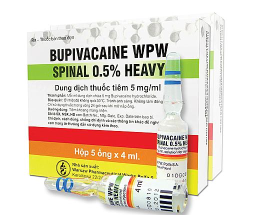 Thuốc Bupivacaine WPW Spinal 0,5% Heavy 4ml của Công ty cổ phần Dược phẩm T.Ư CPC 1. Ảnh: cpc1