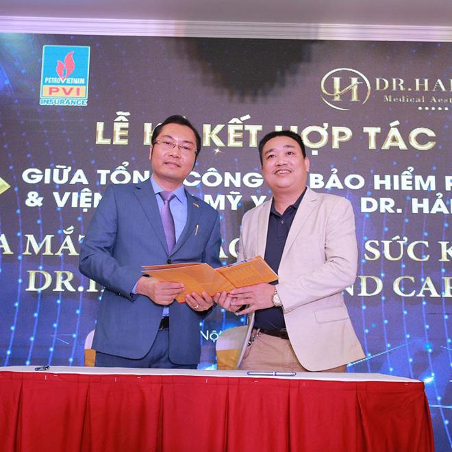 Tại buổi lễ còn diễn ra ký kết hợp tác chiến lược giữa Viện Thẩm Mỹ Dr.Hải Lê với Tổng Công ty Bảo hiểm PVI và ra mắt gói bảo hiểm sức khỏe Dr. Hai Le Diamond Care.
