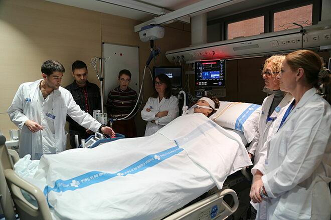 Bác sĩ tại Bệnh việnVall dsronron diễn tả về kỹ thuật ECMO. Ảnh:Bệnh viện Vall dsronron