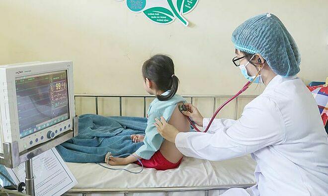 Bệnh nhi hiện ổn định sau 3 ngày điều trị. Ảnh: Bệnh viện cung cấp.