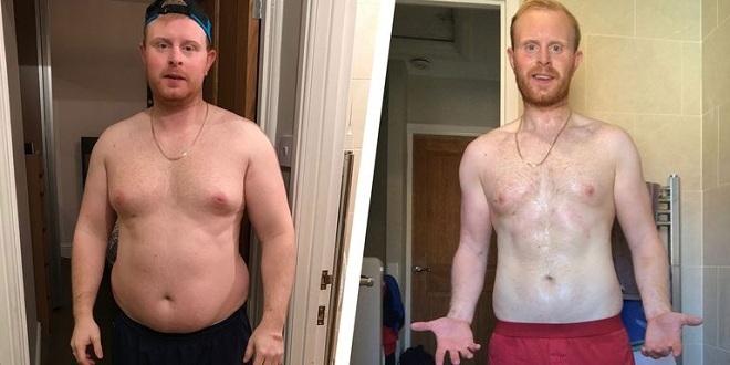 David trước và sau khi giảm cân. Ảnh: Mens Health